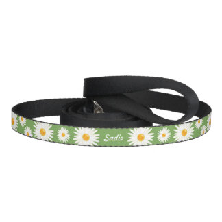 Floral Daisy Flowers On Green And Your Pet's Name Pet Lead