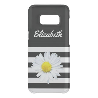 Floral Daisy Name Black Striped Case
