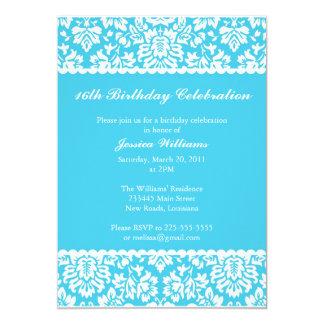 Floral Damask Birthday 13 Cm X 18 Cm Invitation Card