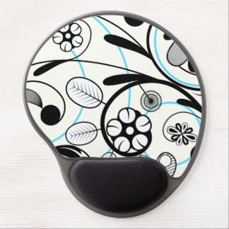 Floral Damask black blue white Gel Mouse Pad