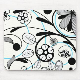 Floral Damask black blue white Mouse Pad