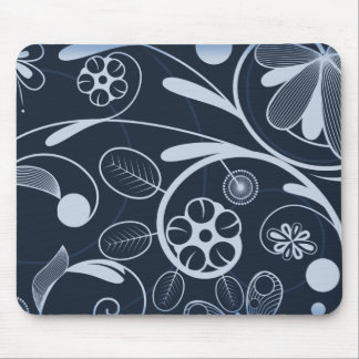 Floral Damask blue Mouse Pad