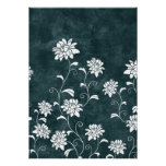 Floral damask blue & white flowers girly chic print