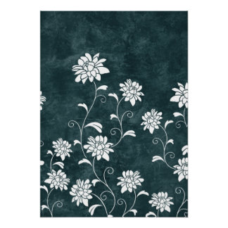 Floral damask blue white flowers girly chic print