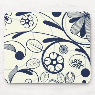 Floral Damask blue white Mouse Pad