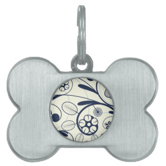 Floral Damask blue white Pet Tags