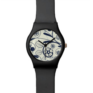 Floral Damask blue white Watch