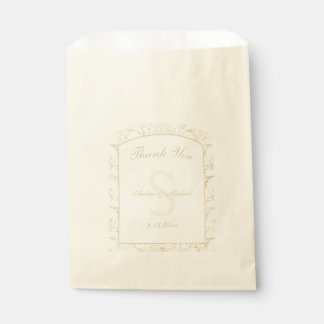 Floral Damask Creme and Beige Wedding Favour Bags