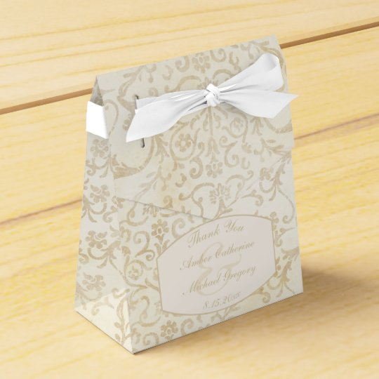 Floral Damask Creme and Beige Wedding Favour Box