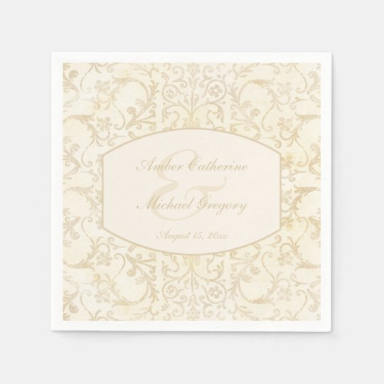 Floral Damask Creme and Beige Wedding Paper Napkins