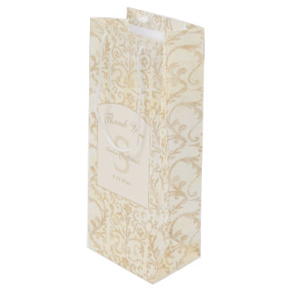 Floral Damask Creme and Beige Wedding Thank You Wine Gift Bag