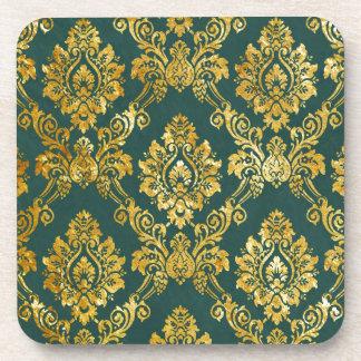 Floral Damask Gold Pattern Coasters