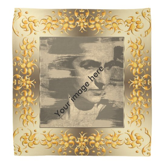 Floral damask golden fram. image.text. bandana