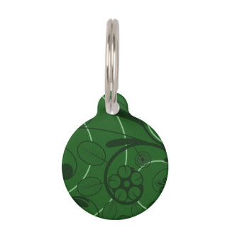 Floral Damask green Pet ID Tag