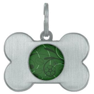 Floral Damask green Pet Name Tag