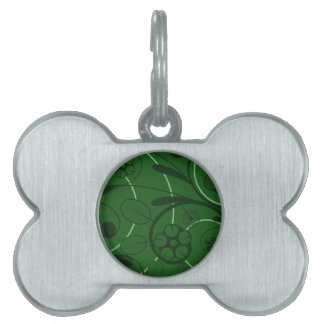 Floral Damask green Pet Name Tags