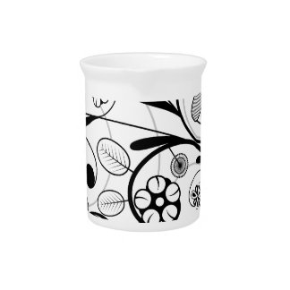Floral Damask grey scale Drink Pitcher