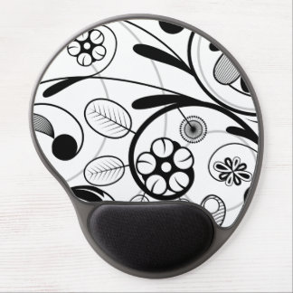 Floral Damask grey scale Gel Mouse Pad