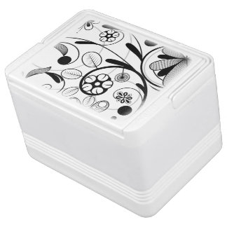 Floral Damask grey scale Igloo Cool Box