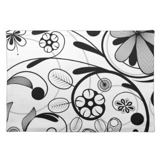Floral Damask grey scale Place Mats