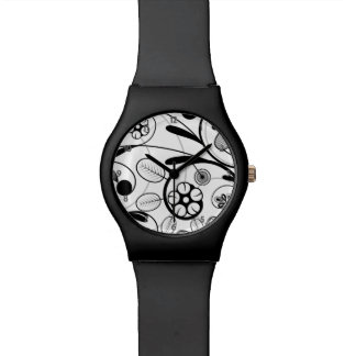 Floral Damask grey scale Watch