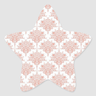Floral Damask in Coral and White Star Sticker