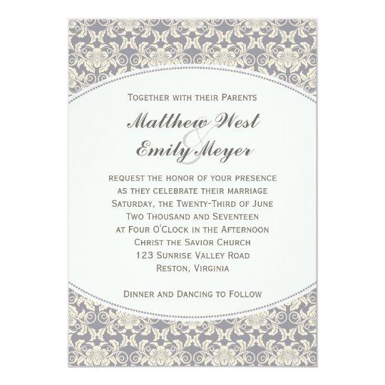 Floral Damask Lace Wedding Invitation