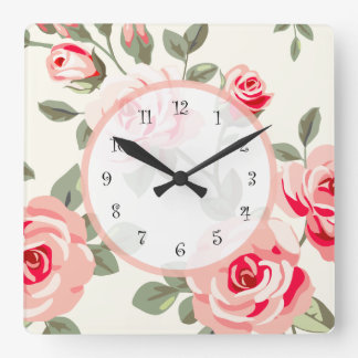 Floral Damask Square Wall Clock