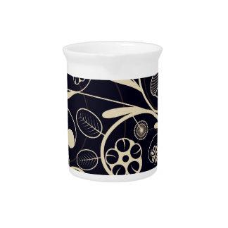 Floral Damask tan black Beverage Pitchers