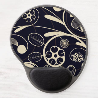 Floral Damask tan black Gel Mouse Pad