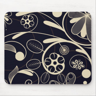 Floral Damask tan black Mouse Pad