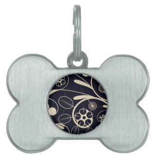 Floral Damask tan black Pet Name Tag