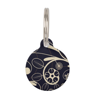 Floral Damask tan black Pet Nametag