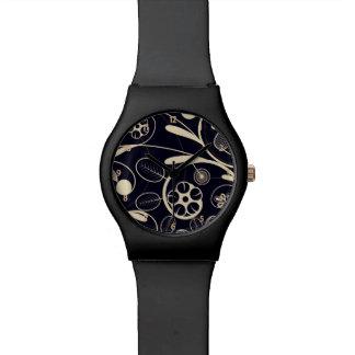 Floral Damask tan black Wristwatches