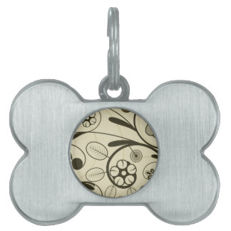 Floral Damask tan Pet ID Tags