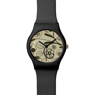 Floral Damask tan Watches