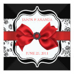 Floral Damask Wedding Invite with Bow 13 Cm X 13 Cm Square Invitation Card