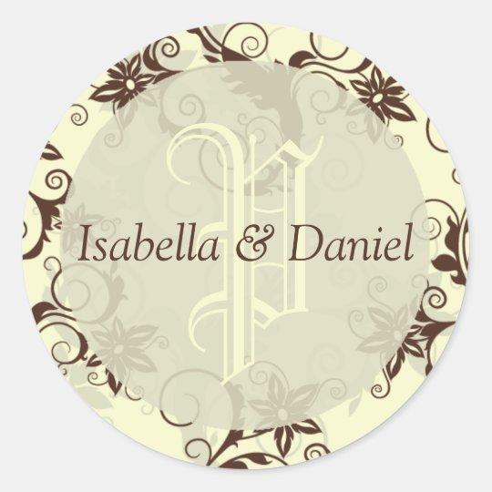 Floral Damask Wedding Monogram Names Custom Design Classic Round Sticker