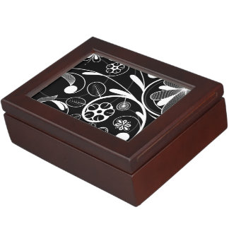 Floral Damask white black Keepsake Boxes