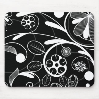 Floral Damask white black Mouse Pad