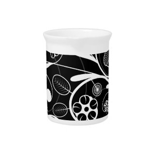 Floral Damask white black Pitcher