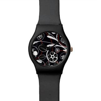 Floral Damask white red black Wrist Watch