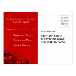 Floral Dark Red Gothic Elegant RSVP Reply Postcard