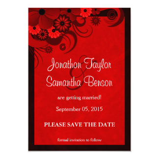 Floral Dark Red Gothic Save The Date Announcements