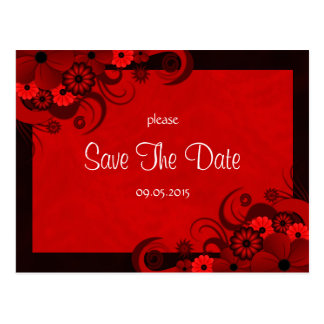 Floral Dark Red Gothic Save The Date Announcements Postcard