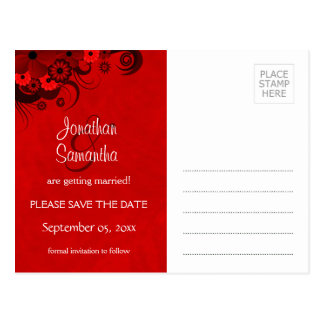 Floral Dark Red Gothic Save The Date Postcards