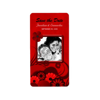 Floral Dark Red Gothic Save The Date Wine Labels