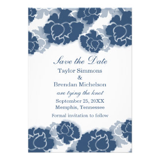 Floral Decadence Save the Date Invite, Blue