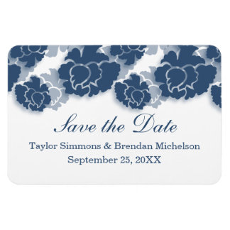 Floral Decadence Save the Date Magnet, Blue