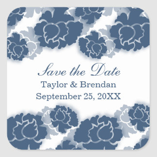 Floral Decadence Save the Date Stickers, Blue